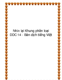 Nhìn lại Khung phân loại DDC 14 - Bản dịch tiếng Việt