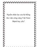 Nguồn nhân lực của hệ thống thư viện công cộng Việt Nam: Mạnh hay yếu