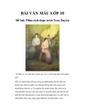 Văn mẫu lớp 10 Phân tích đoạn trích Trao Duyên - Trích Truyện Kiều của Nguyễn Du
