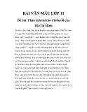 Bài văn mẫu lớp 11: Phân tích bài thơ Chiều tối của Hồ Chí Minh