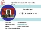 Bài giảng Luật kinh doanh (TS. Lê Minh Toàn) - Chương 1: Pháp luật về doanh nghiệp
