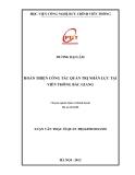 Luận văn Thạc sĩ quản trị kinh doanh: Hoàn thiện công tác quản trị nhân lực tại Viễn Thông Bắc Giang