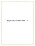 Quyết định số 1415/QĐ-BNN-CB 2013