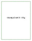 Chỉ thị số 14/CT –TTg 2013