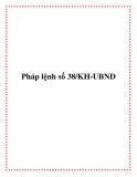 Pháp lệnh số 38/KH-UBND 2013