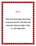 Đề tài: Phát triển hoạt động Marketing trong kinh doanh xuất khẩu mặt hàng thủ công mỹ nghệ ở công ty xuất nhập khẩu