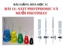 Bài giảng Hóa học 11 bài 11: Axit photphoric và muối photphat
