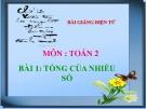 Bài giảng Tổng của nhiều số - Toán 2 - GV.Lê Văn Hải