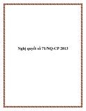 Nghị quyết số 71/NQ-CP 2013