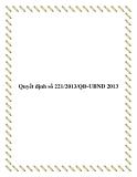 Quyết định số 221/2013/QĐ-UBND 2013