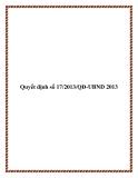 Văn bản số 17/2013/QĐ-UBND