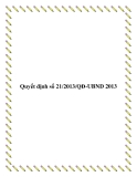 Quyết định 21/2013/QĐ-UBND 2013