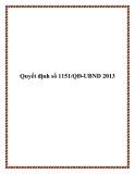 Quyết định 1151/QĐ-UBND 2013