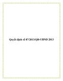 Quyết định  07/2013/QĐ-UBND 2013