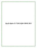 Quyết định 17/2013/QĐ-UBND 2013