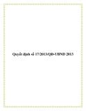 Quyết định số 17/2013/QĐ-UBND 2013
