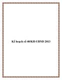 Kế hoạch số 40/KH-UBND 2013