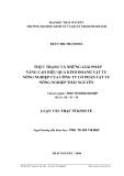 Luận văn Thạc sĩ Kinh tế: Thực trạng và những giải pháp nâng cao hiệu quả kinh doanh vật tư nông nghiệp của công ty cổ phần vật tư nông nghiệp Thái Nguyên