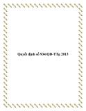Quyết định số 934/QĐ-TTg 2013