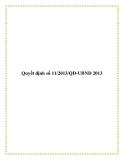 Văn bản quyết định số 11/2013/QĐ-UBND 2013