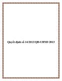 Văn bản quyết định số 14/2013/QĐ-UBND 2013