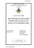Luận văn: Phân tích hiệu quả hoạt động kinh doanh của NHNo& PTNT huyện Lấp Vò tỉnh Đồng Tháp