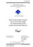Luận văn: Phân tích hoạt động tín dụng hộ sản xuất nông nghiệp tại chi nhánh NHNo & PTNT huyện Long Hồ tỉnh Vĩnh Long