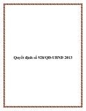 Quyết định số 928/QĐ-UBND 2013