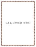 Văn bản quyết định số 26/2013/QĐ-UBND