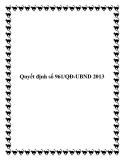 Quyết định số 961/QĐ-UBND 2013