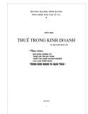 Bài giảng Thuế trong kinh doanh - TS Huỳnh Viết Tấn