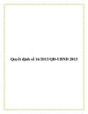 Văn bản quyết định số 16/2013/QĐ-UBND