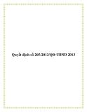 Quyết định số 205/2013/QĐ-UBND 2013