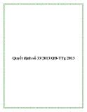 Quyết định số 33/2013/QĐ-TTg 2013