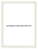 Văn bản quyết định 14/2013/QĐ-UBND