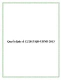 Văn bản quyết định 12/2013/QĐ-UBND 2013