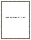 Quyết định số 848/QĐ-TTg 2013