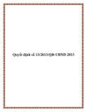 Văn bản quyết định số 13/2013/QĐ-UBND