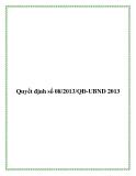 Văn bản Số: 08/2013/QĐ-UBND