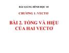 Bài giảng Tổng và hiệu hai vectơ - Hình học 10 - GV. Trần Thiên
