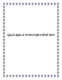 Văn bản số 19/2013/QĐ-UBND