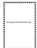 Văn bản số 25/2013/QĐ-UBND