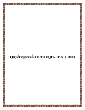 Văn bản quyết định số 13/2013/QĐ-UBND 2013