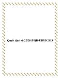Văn bản số 22/2013/QĐ-UBND