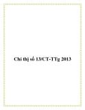 Chỉ thị số 13/CT-TTg 2013