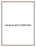 Chỉ thị số 16/CT-UBND 2013