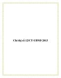 Chỉ thị số 12/CT-UBND 2013