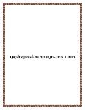 Văn bản quyết định số 26/2013/QĐ-UBND 2013