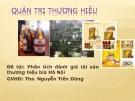 Tiểu luận: Phân tích đánh giá tài sản thương hiệu bia Hà Nội
