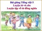 Bài giảng Luyện từ và câu: Luyện tập về từ đồng nghĩa - Tiếng việt 5 - GV.N.T.Hồng
